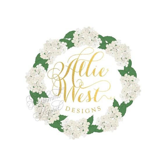 Custom logo - gold foil logo  - calligraphy logo - business logo - floral chalk logo - hydrangea logo