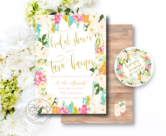 Printable invitations - bridal shower invitation - flower frame invitation - watercolor invitation - floral invitation - freshmint paperie