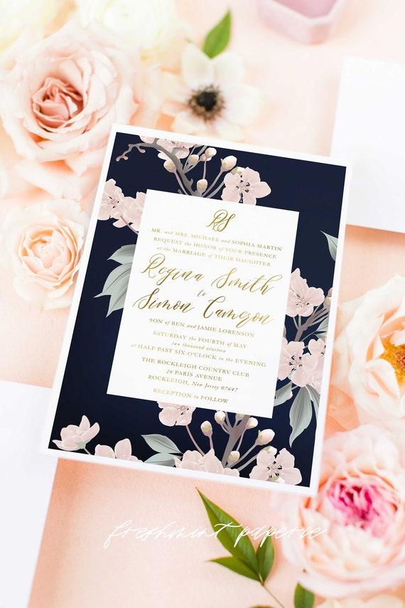 Classic Wedding Invitation | Wedding invitation | Calligraphy Wedding Invitation | Calligraphy invitation | Navy Floral Wedding invitation