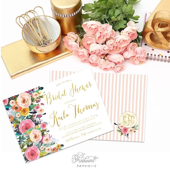 Printable invitations - bridal shower invitation - flower invitation - calligraphy - floral calligraphy invitation - freshmint paperie