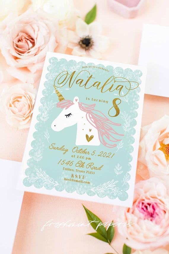Unicorn invitation | unicorn birthday invitation | unicorn party | magical unicorn invitation | unicorn party | unicorn invite