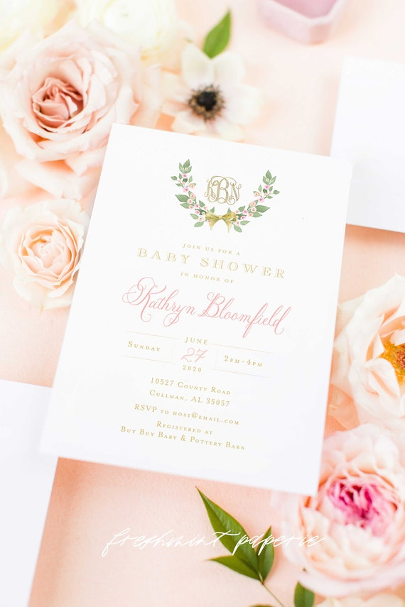 Monogram Baby Shower Invitation - baby shower invitation - baby shower invitation - wreath ribbon invitation - Pink baby shower