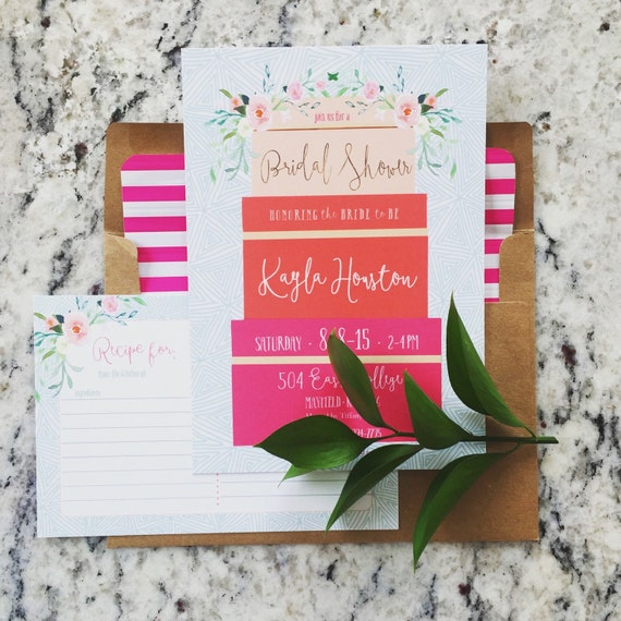 Kate spade invitations - bridal shower invitation - gift box invitation - floral invitation - freshmint paperie