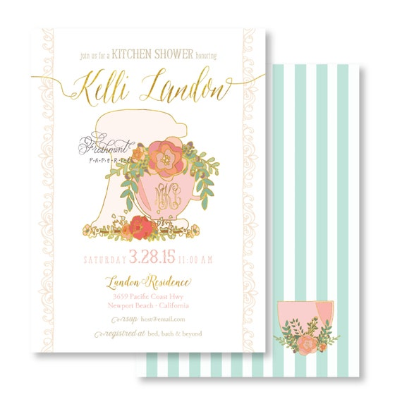 Kitchen Shower Invitation - Bridal Shower Invitation - Stock the Kitchen Invitation - culinary invitation - Monogram Invitation