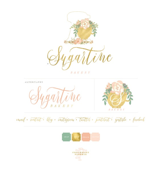style 302 | Bakery logo | watercolor logo | baking logo | gold calligraphy logo | cake logo | floral mixer logo - freshmint paperie