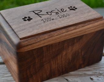 Wooden Pet Urn Wood Urn Pet Cremation Box Black Urn for Dog Dog Bone Wood Pet Memorial Box Dog Memorial Gift Pet Cremation Urn