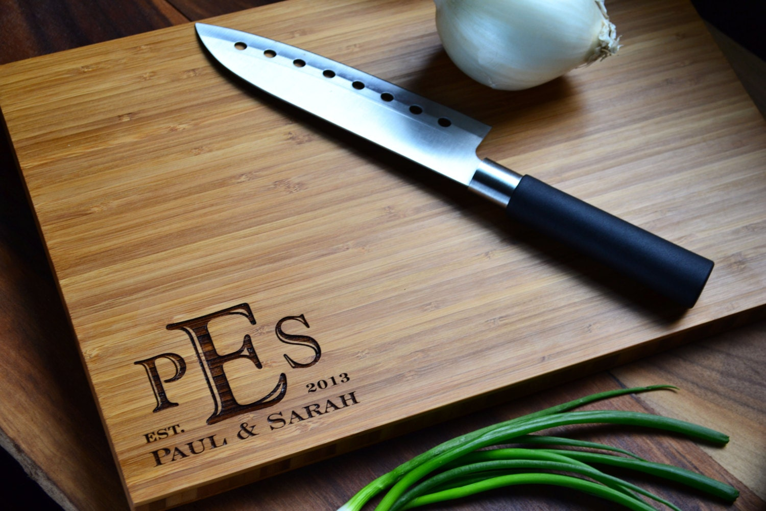 "Personalized Cutting Board Engraved Bamboo Wood ""Monogrammed Corner"" for Wedding, Anniversary gift"