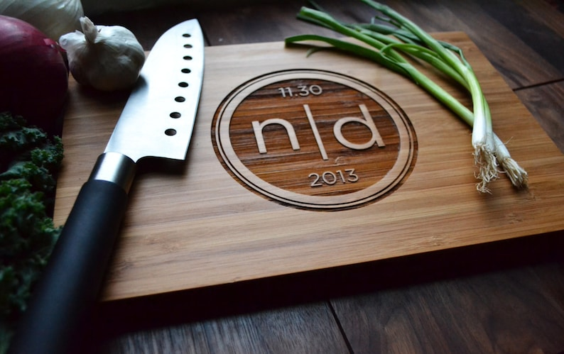 Anniversary gift Personalized Cutting Board Engraved Bamboo Wood Modern Intitials for Wedding