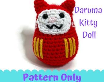 Daruma Kitty Doll Crochet Amigurumi PATTERN ONLY PDF file