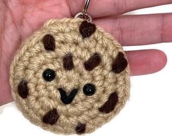 Handmade Crochet Chocolate Chip Cookie Amigurumi Keychain