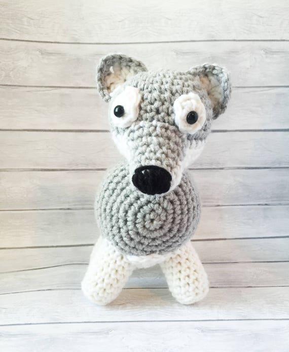 Handmade Crochet Wolf Amigurumi Plush Stuffed Animal Standing Etsy