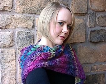 Crocheted Scarf/Wrap - Rainbow Jewel Tones - Handmade Accessory - Gender Neutral