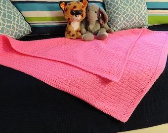 Crocheted Blanket/Afghan - Hot Pink - Baby Girl - Lap Blanket