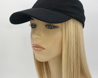 100% Human Hair! Chemo Hat. Women's black baseball hat with Hair attached. Perfect for those who have lost their hair due to chemotherapy