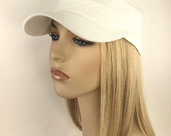 100% Human Hair! Chemo Hat. Women's White cadet hat with Hair attached. Perfect for those who have lost their hair due to chemotherapy