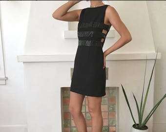 VTG 1990s Clueless Era Black Cut Out Side Shiny Plastic Bust BodyCon Mini Dress