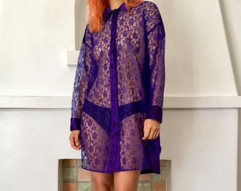 VTG Deep Purple Satin and Lace Collared Button Up Victoria's Secret Shirt Dress