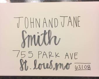 Hand made custom wedding invitation envelopes
