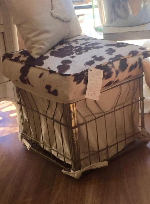 Vintage Milk Crate Storage Bench Ottoman Stool | Etsy