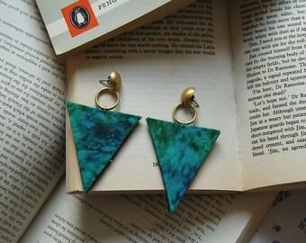 Marbled Aquamarine Triangle Earrings