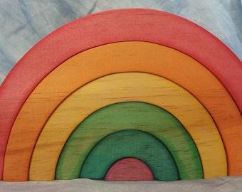 Beautiful Wooden Rainbow Stacker- waldorf steiner