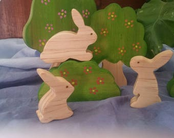 Wooden bunnies, set of 3, natural wooden toy, waldorf toy, steiner toy, pretend play, bunny, Easter