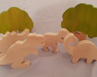 RAW Set of 4 natural wooden dinosaurs, waldorf steiner pretend play DINOS ONLY