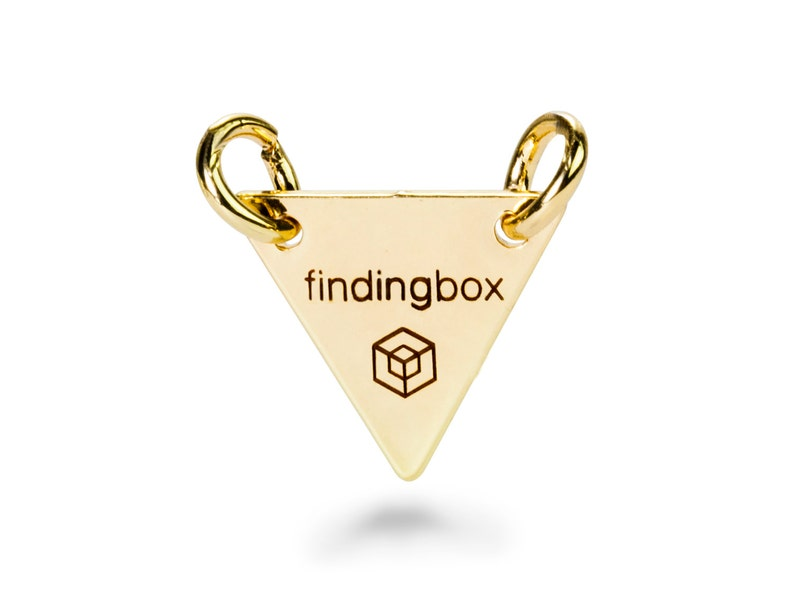 19 Gauge 15x15mm F14O.GO01.C Pkg of 50100 PCS Gold Triangle Jewelry Tag with 2 Holes Laser Engraved Logo on Triangle Tags Sequins