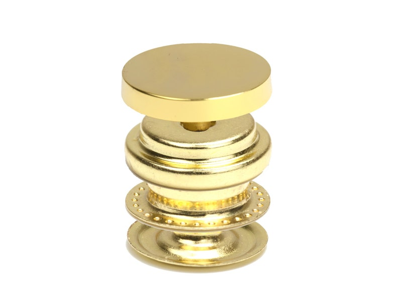 14K Gold Plated Snap Buttons, Metal Snap Fasteners, 15mm Round Metal Spring  Press, Snap Button for Leather Crafts, 100 Sets, F0VN GO01 S100