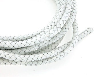 6mm White Leather Cord, Genuine Braided Leather Cord, Round Leather Cord, Pkg of 1 meter, D0FB.WH58.L1M
