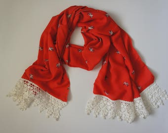 Lightweight Scarf with Lace Trim, Red, Humming Bird