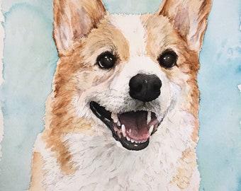 """8x10"""" Watercolor Pet Portrait -Single Pet"""