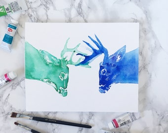 Fighting bucks print