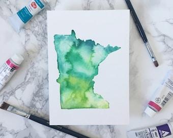 Custom State Watercolor