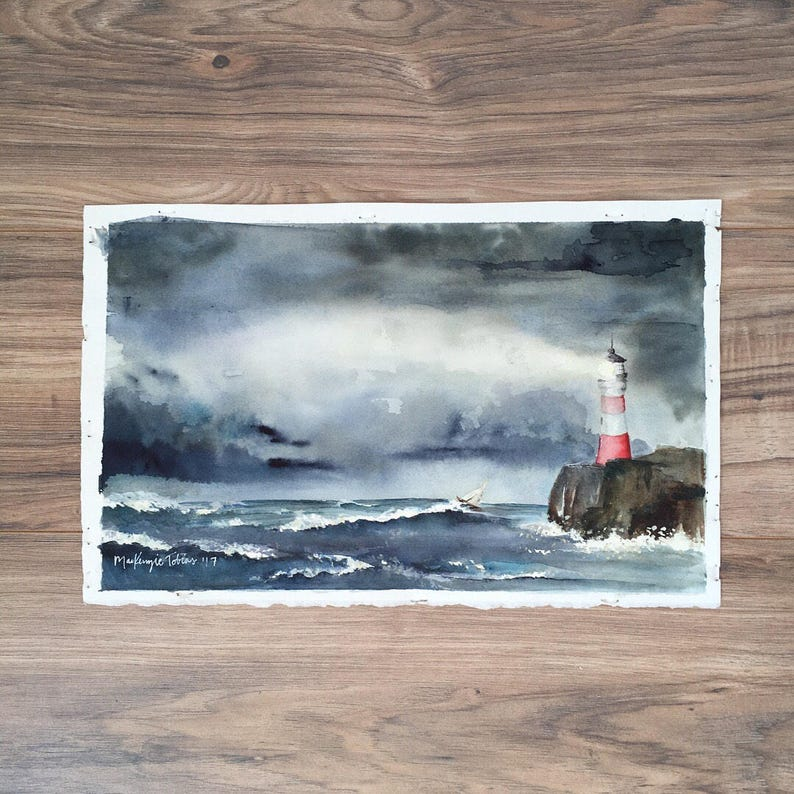 Port in the Storm  Original Watercolor Painting image 0