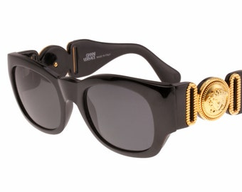 958dc59259dec Gianni Versace NOS 413 A Notorious B.I.G. black or tortoise with gold Medusa  squared sunglasses with cutoff details hand made in Italy