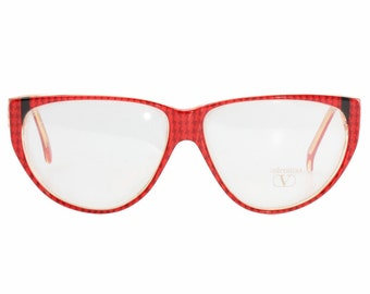 851ba5c0b2 Valentino Garavani red pied de poule cateye eyeglasses frames with black    gold details