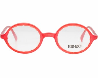 36089fcddcb Kenzo Lemon vintage NOS frosted red oval eyeglasses frames hand made in  France