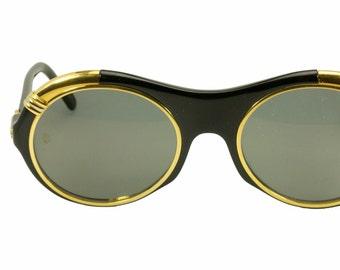 961e2067e3 Cartier Diabolo 1991 NOS vintage black   gold oversized round sunglasses