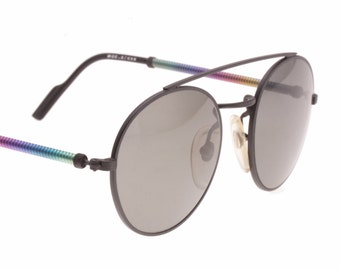 7af93b2e402a00 Beverly Hills hype round black sunglasses with multicolour rainbow spring  temples