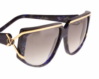 Valentino blue marble   gold detailed oversized diva sunglasses b945a27893