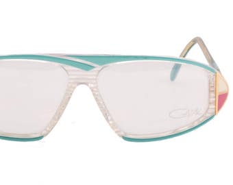 5e9c4bc5149 Cazal mod 187 oversized mask sunglasses in clear striped acetate with  seagreen highlights and golden metal white and pink enamelled details