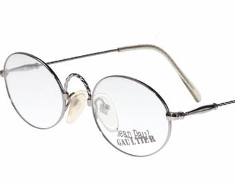 03493dff49bbe Jean Paul Gaultier 55-0175 oval steampunk silver metal eyeglasses frame  with beautiful twisted temples and bridge