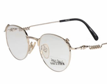 afbff52fe11ee Jean Paul Gaultier 55-5105 Vintage 80s pantos steampunk 22k gold plated  eyeglasses frame with spring temples and engraved bridge