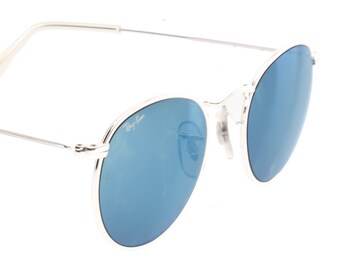 6d8ed1d737fc Ray-Ban B L W2246 rare round silver sunglasses with blue mirrored lenses  made in usa by Bausch and Lomb.