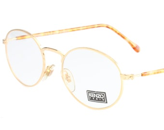 913308dc40a Kenzo Vesuve 80s oval eyeglasses golden metal frames with outstanding  carved details on rims bridge and hinges hand made in France 1980s NOS