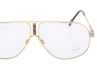 017b23bd90 Jaguar collectible vintage golden metal aviator eyeglasses with cutoff  detail made in Germany
