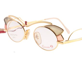 bd1fdf7f2d96e Casanova 24k golden plated luxury cateye ladies eyeglasses frames with  stained glass-like translucent cello decorations