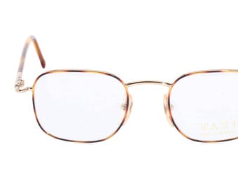 6271aa8d592 Taxi 2113 vintage thin square golden metal with enamelled tortoise  eyeglasses frames hand made in Italy