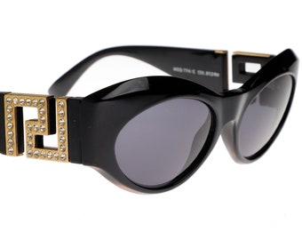 76b708a139 Gianni Versace Medusa T74  C Black jewelled cateye sunglasses with  signature greek temples